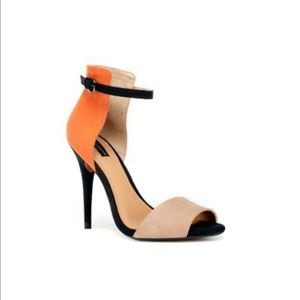 ZARA Orange and Tan Color Block Heels